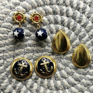 🍁 Vintage Bundle 3 pair sail Nautical navy anchor